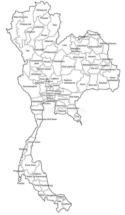 Mapa de Tailândia ilustração do vetor