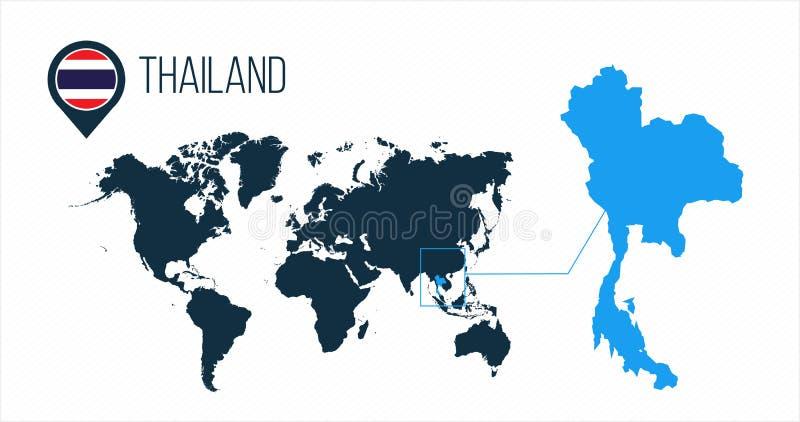 Mapa de Tailândia situado em um mapa do mundo com bandeira e ponteiro ou pino do mapa Mapa de Infographic Ilustração do vetor iso ilustração do vetor