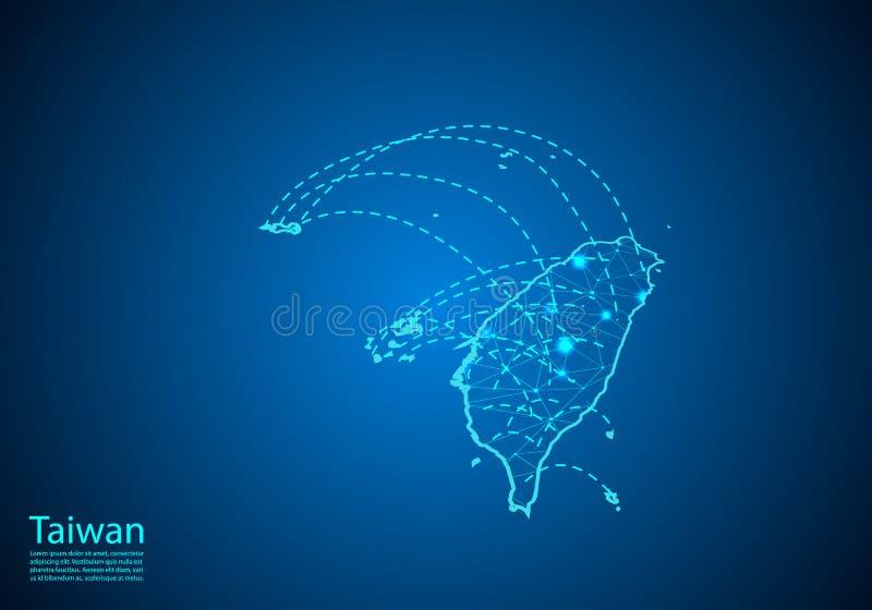 Mapa de Taiwan com os nós ligados por linhas conceito de uma comunicação global e do negócio Mapa escuro criado dos pontos branco ilustração stock