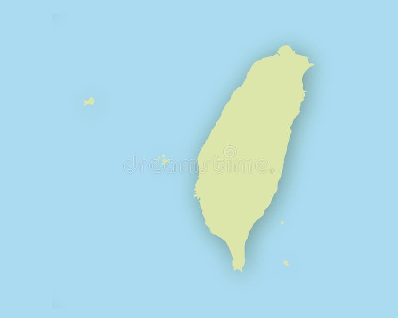 Mapa de Taiwan com sombra ilustração do vetor