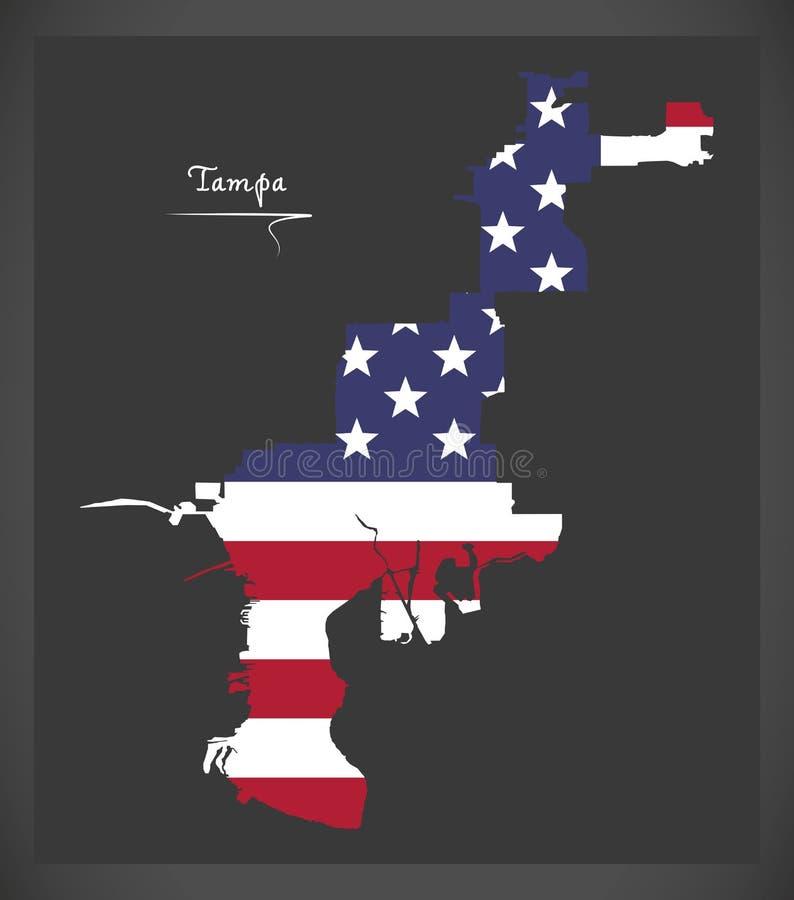 Mapa de Tampa Florida com ilustração americana da bandeira nacional ilustração do vetor