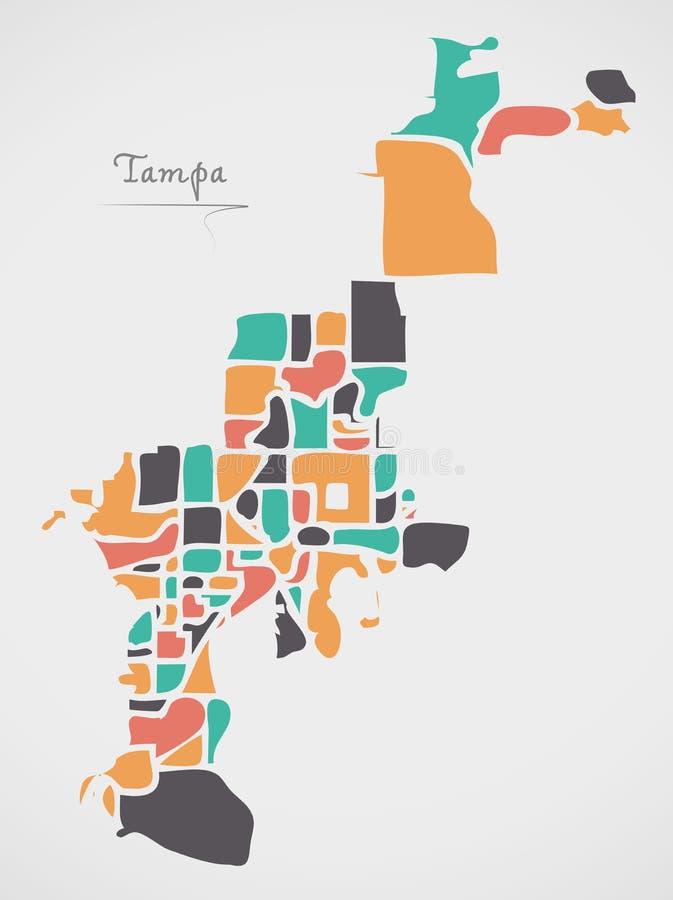 Mapa de Tampa Florida com vizinhanças e formas redondas modernas ilustração do vetor