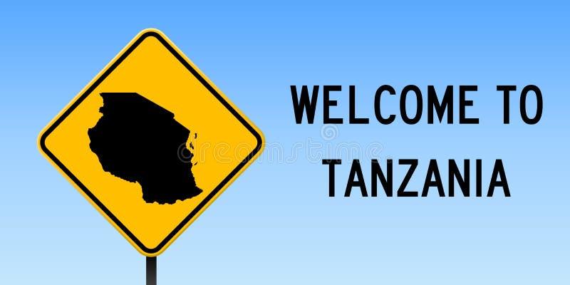 Mapa de Tanzânia no sinal de estrada ilustração do vetor
