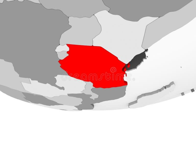 Mapa de Tanzania en el globo político gris ilustración del vector