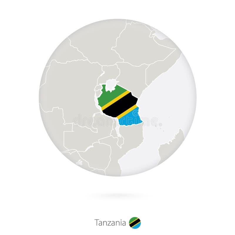 Mapa de Tanzania y de la bandera nacional en un círculo stock de ilustración