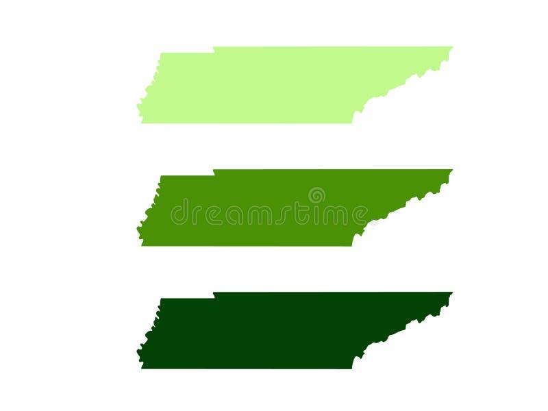 Mapa de Tennessee - estado situado en la región del sudeste de los Estados Unidos imágenes de archivo libres de regalías