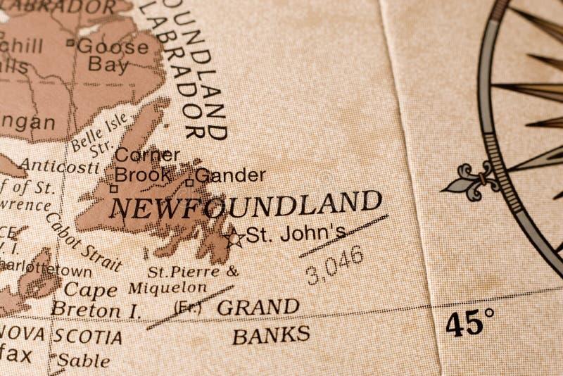 Mapa de Terra Nova fotografia de stock