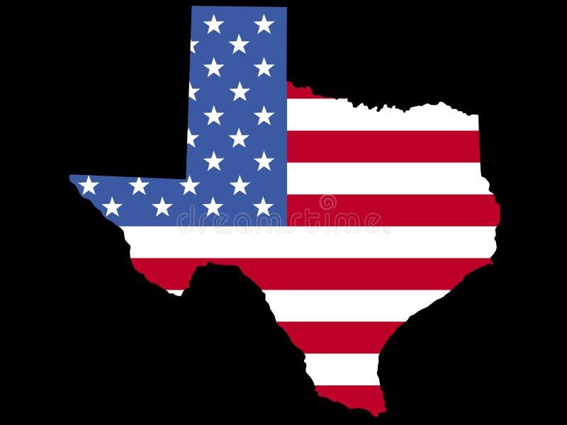 Mapa de Texas com bandeira ilustração stock