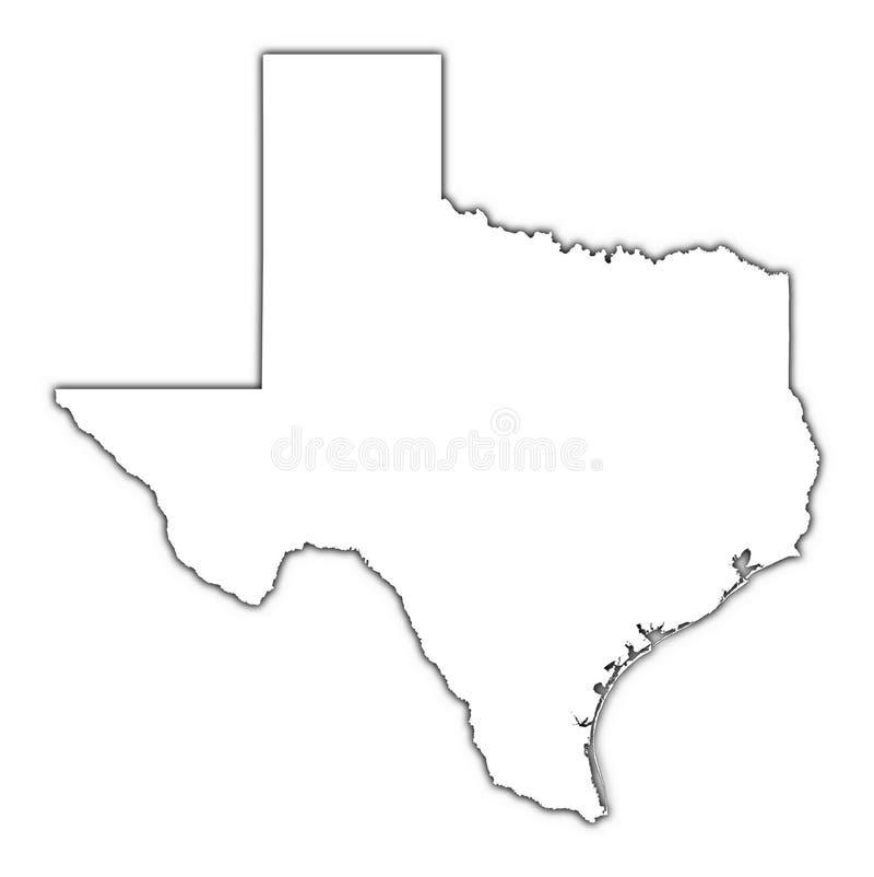 Mapa de Texas com sombra ilustração do vetor
