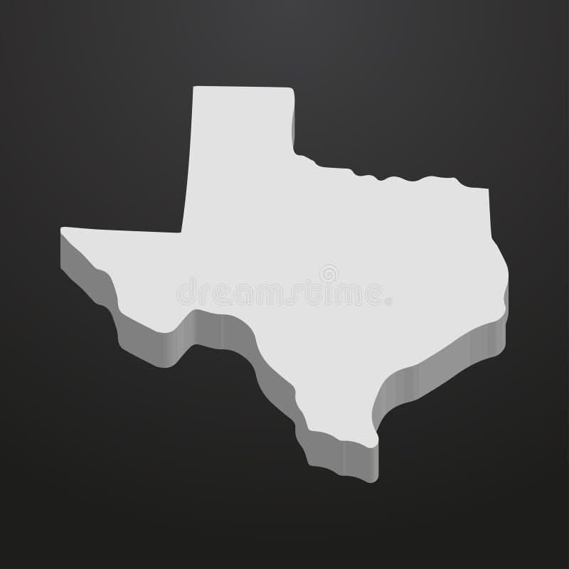 Mapa de Texas State no cinza em um fundo preto 3d ilustração stock