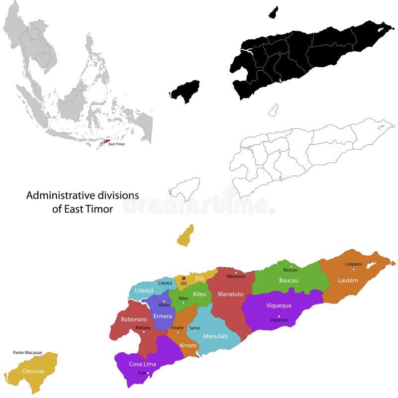 Mapa de Timor Oriental ilustración del vector