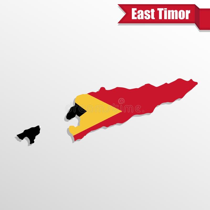Mapa de Timor Oriental con el interior y la cinta de la bandera stock de ilustración