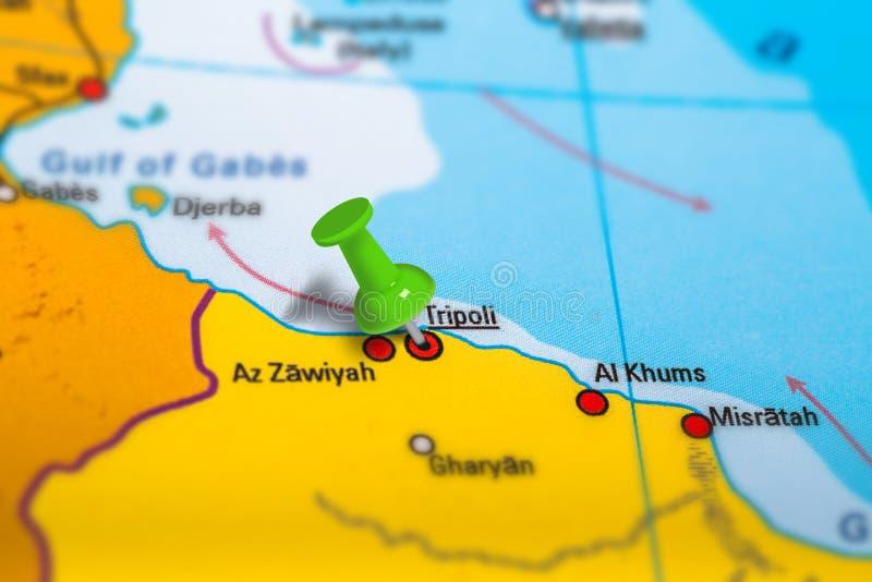 Mapa de Trípoli Libia imagen de archivo