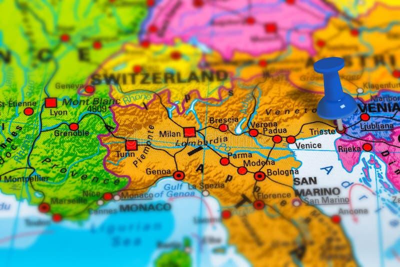 Mapa de Trieste Itália imagem de stock