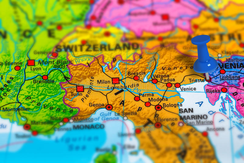 Mapa de Trieste Italia imagen de archivo