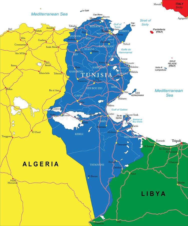 Mapa de Tunísia ilustração do vetor