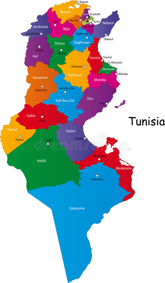 Mapa de Tunísia ilustração royalty free