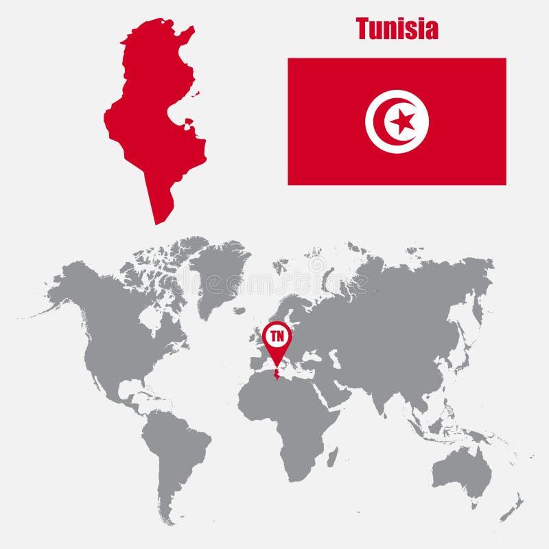 Mapa de Tunísia em um mapa do mundo com o ponteiro da bandeira e do mapa Ilustração do vetor ilustração stock