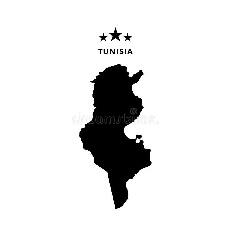 Mapa de Tunísia Ilustração do vetor ilustração stock