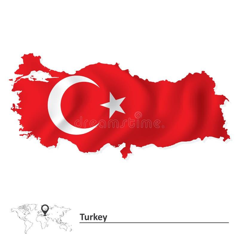Mapa de Turquía con la bandera libre illustration