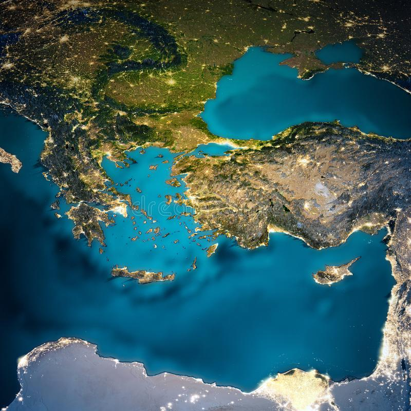 Mapa de Turquía y de Grecia imagen de archivo