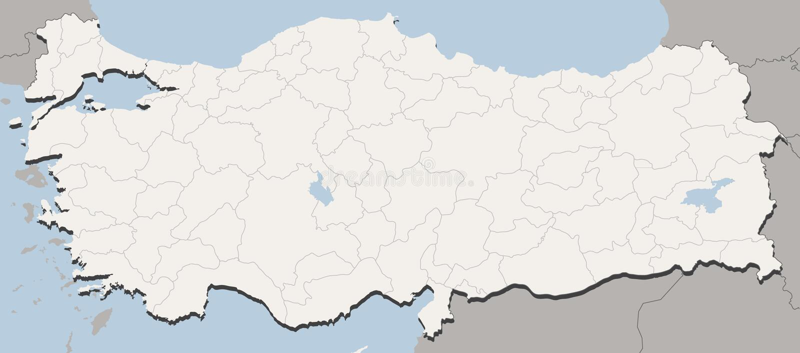 Mapa de Turquia ilustração stock