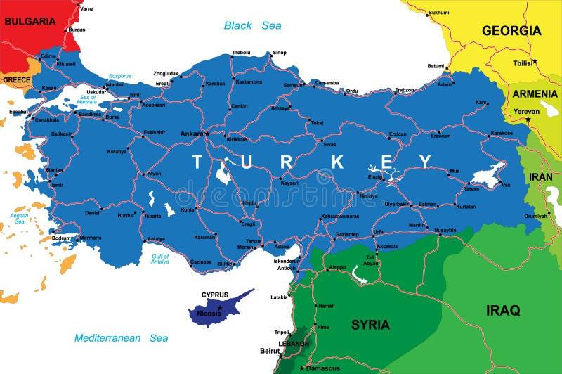 Mapa de Turquia ilustração do vetor