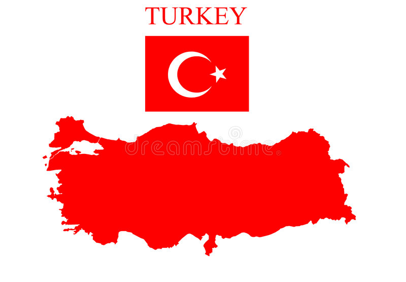 Mapa de Turquia com bandeira ilustração stock