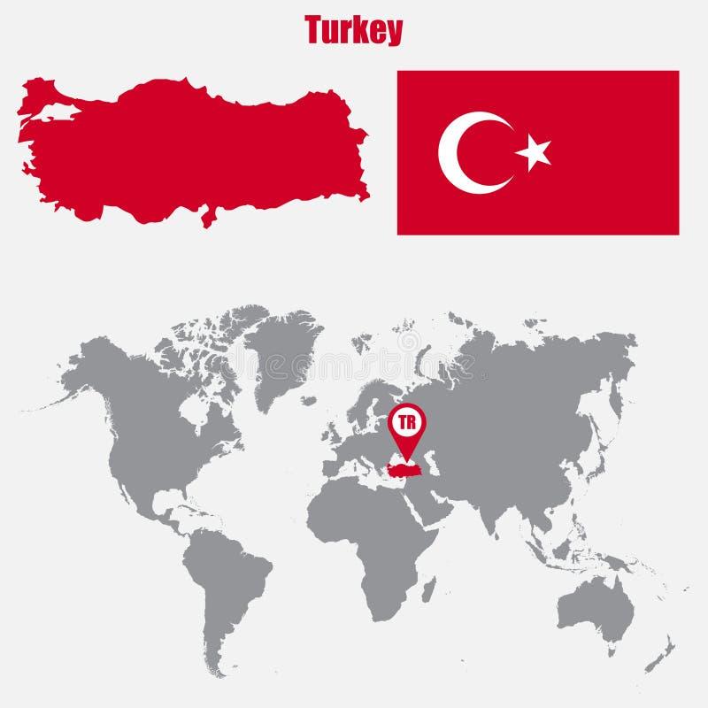 Mapa de Turquia em um mapa do mundo com o ponteiro da bandeira e do mapa Ilustração do vetor ilustração stock