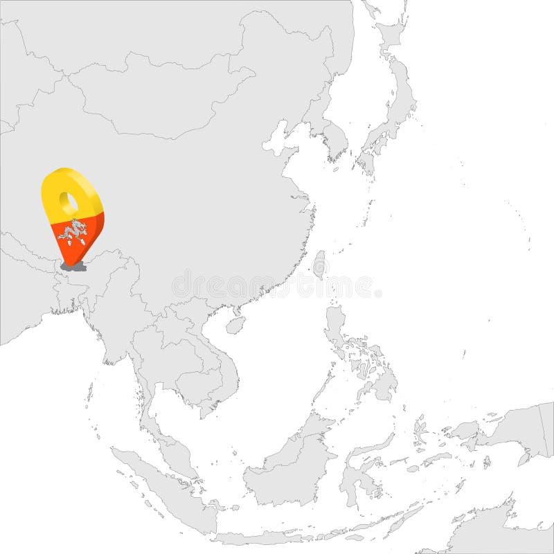 Mapa de ubicación del butano en el mapa Asia perno de la ubicación del marcador del mapa de la bandera del butano 3d Reino de la  stock de ilustración