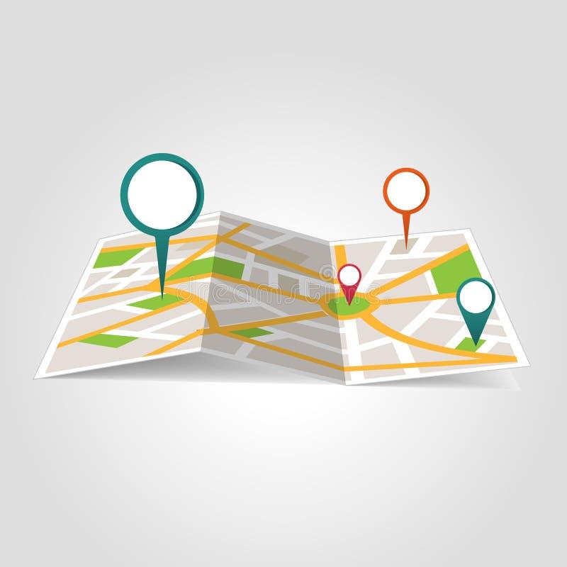 Mapa de ubicación isométrico ilustración del vector