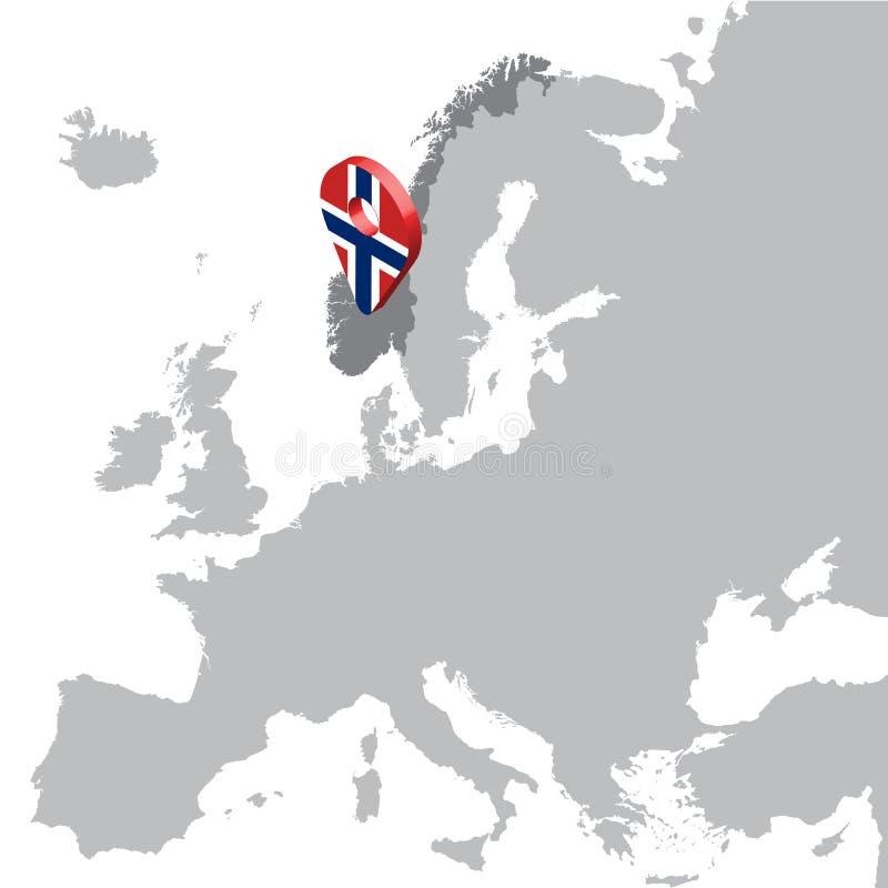 Mapa de ubicación de Noruega en el mapa Europa perno de la ubicación del marcador del mapa de la bandera de 3d Noruega Mapa de al ilustración del vector