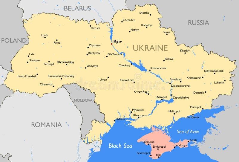 Mapa de Ucrania ilustración del vector