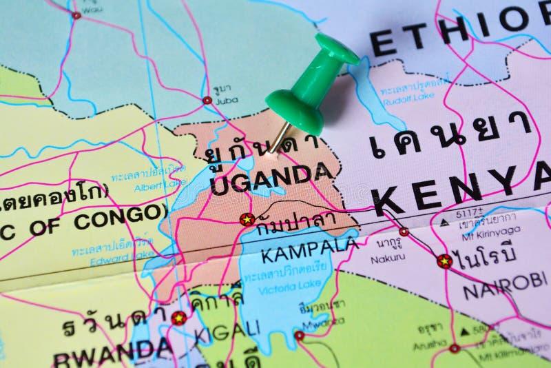 Mapa de Uganda imágenes de archivo libres de regalías