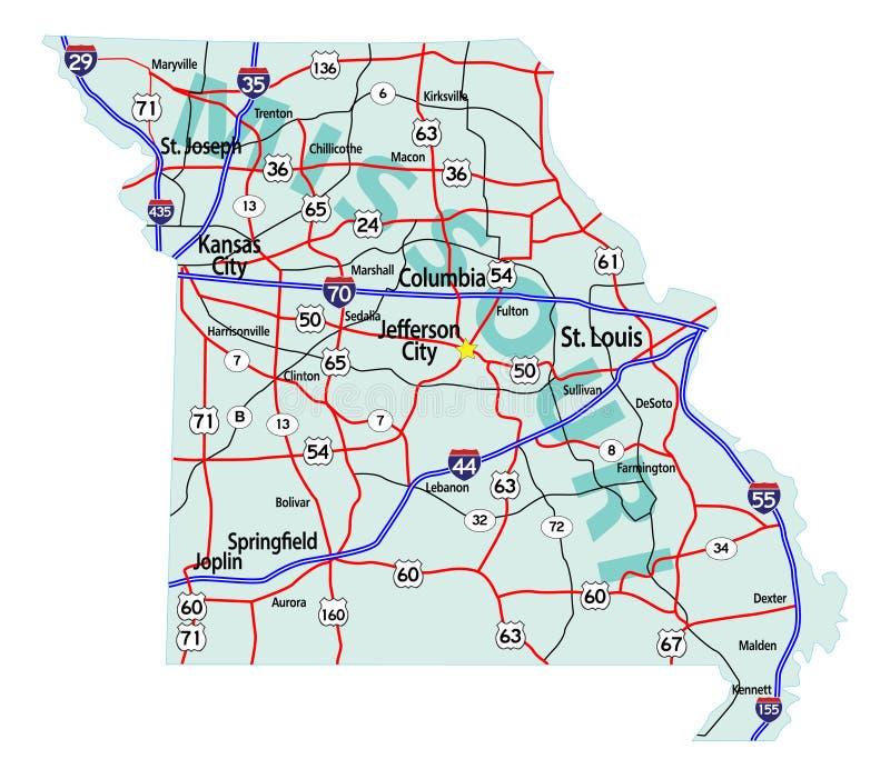 Mapa de um estado a outro do estado de Missouri ilustração do vetor