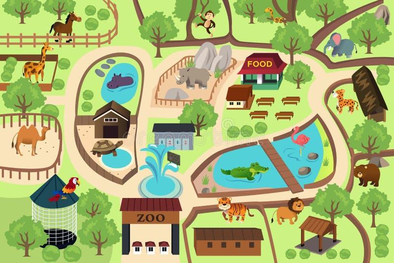 Mapa de un parque del parque zoológico ilustración del vector