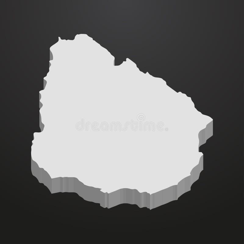 Mapa de Uruguay en gris en un fondo negro 3d stock de ilustración