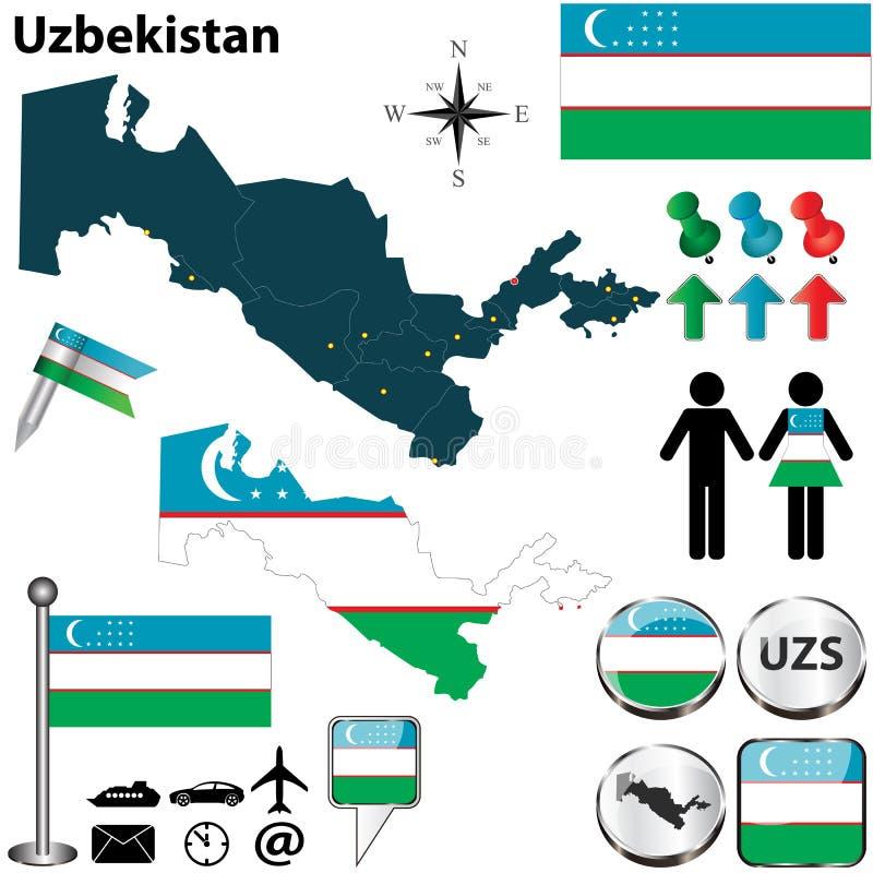 Mapa de Usbequistão ilustração royalty free
