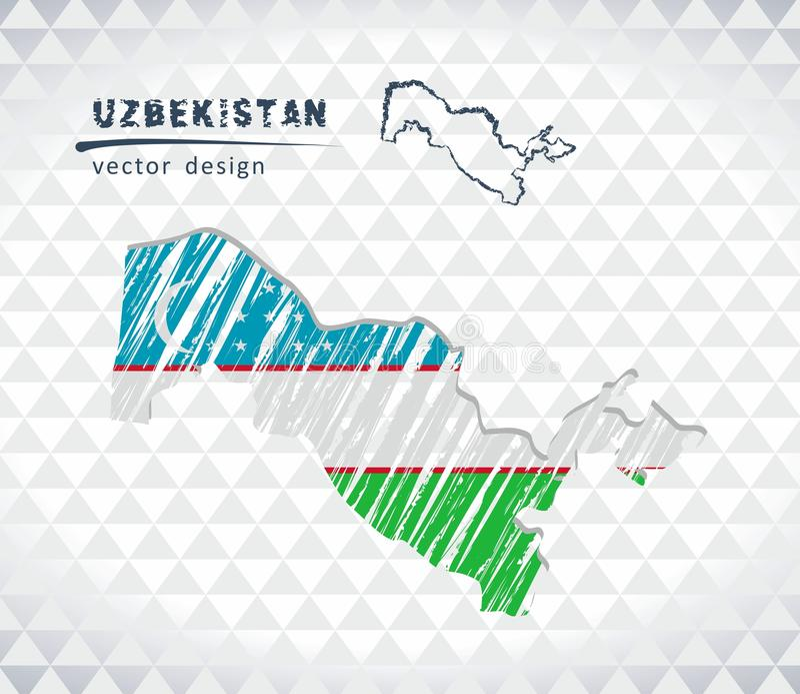 Mapa de Usbequistão com o mapa tirado mão da pena do esboço para dentro Ilustração do vetor ilustração do vetor