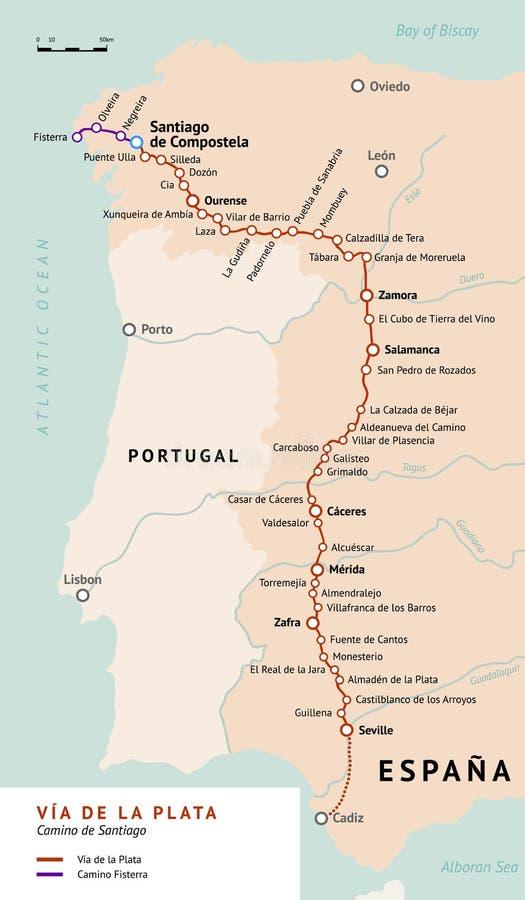 Mapa de VÃa de la Plata Camino De Santiago, Espanha ilustração royalty free