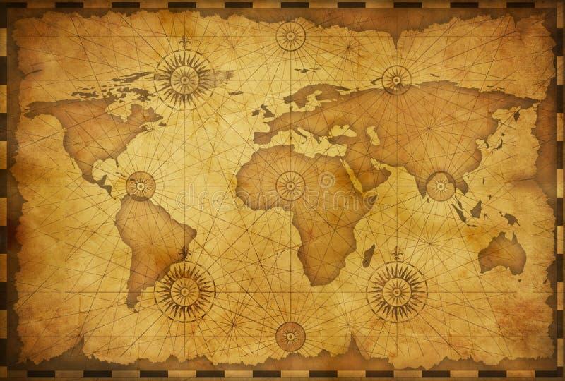 Mapa de Velho Mundo no estilo do vintage Elementos desta imagem fornecidos pela NASA ilustração stock