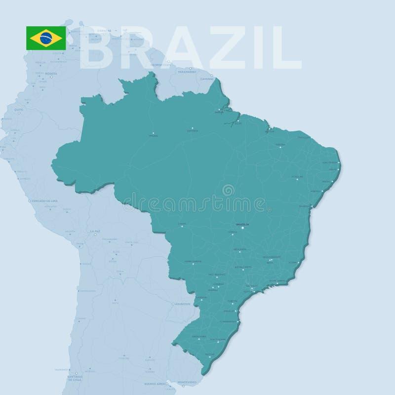 Mapa de Verctor das cidades e das estradas em Brasil ilustração do vetor