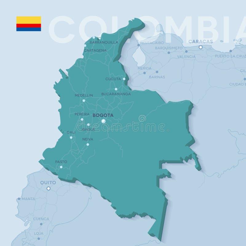 Mapa de Verctor das cidades e das estradas em Colômbia ilustração royalty free