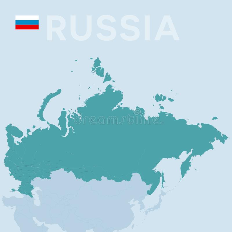Mapa de Verctor das cidades e das estradas em Rússia ilustração do vetor