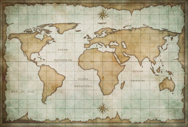 Mapa de Viejo Mundo stock de ilustración