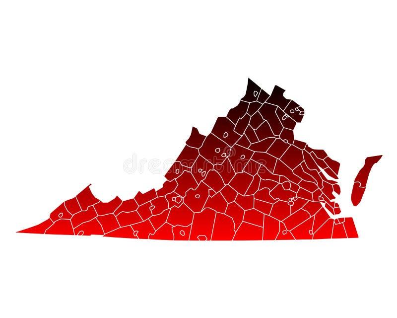 Mapa de Virgínia ilustração royalty free