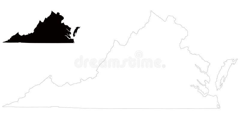 Mapa de Virginia - estado en las regiones del sudeste y del Atlántico medio de los Estados Unidos libre illustration