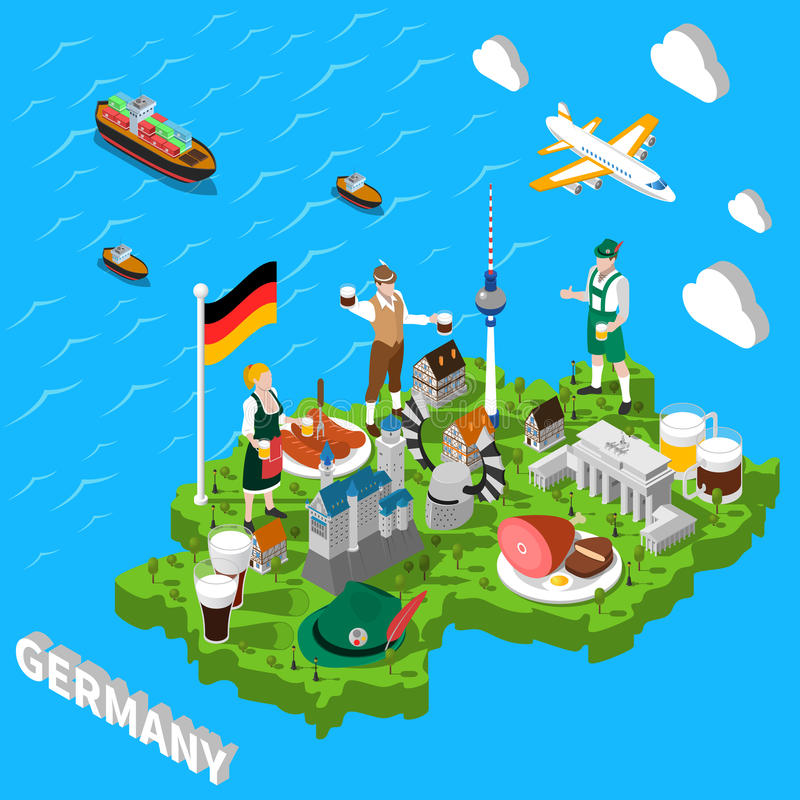Mapa de visita turístico de excursión isométrico de Alemania para los turistas ilustración del vector