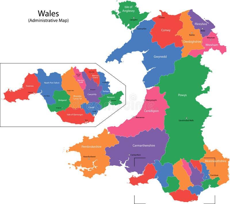 Mapa de Wales ilustração stock