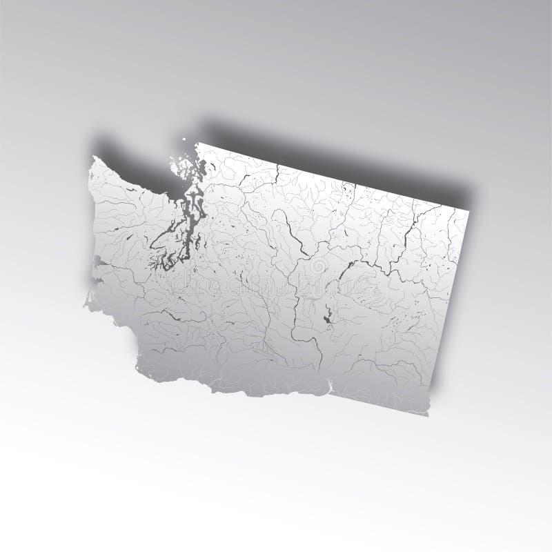 Mapa de Washington con los lagos y los ríos stock de ilustración